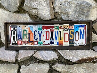 Harley Davidson Sign License Plate Gift Decor Man Cave Decor Art Motorcycles