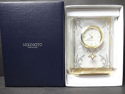 MIKIMOTO Table Clock Quartz Clock Unused With Warranty FROM  JAPAN
