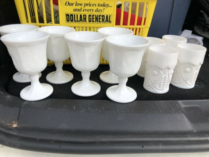 Vintage White Milk Glass Water Goblet And Cups