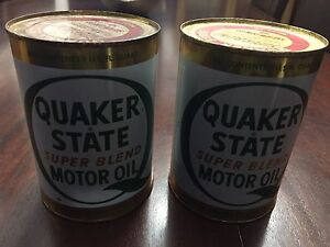 Vintage Quaker state oil FULL cans
