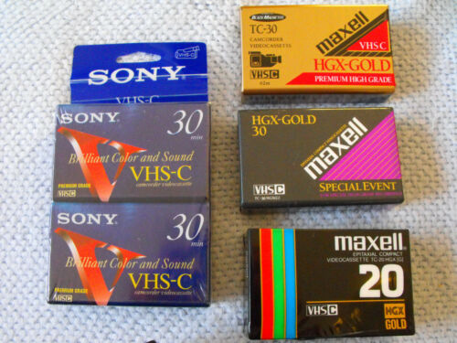 VHS-C VIDEO TAPES-LOT OF 5 NEW SEALED TAPES