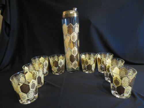 NED HARRIS CERA GLASS MID CENTURY MODERN PINEAPPLE COCKTAIL SHAKER & 8 TUMBLERS
