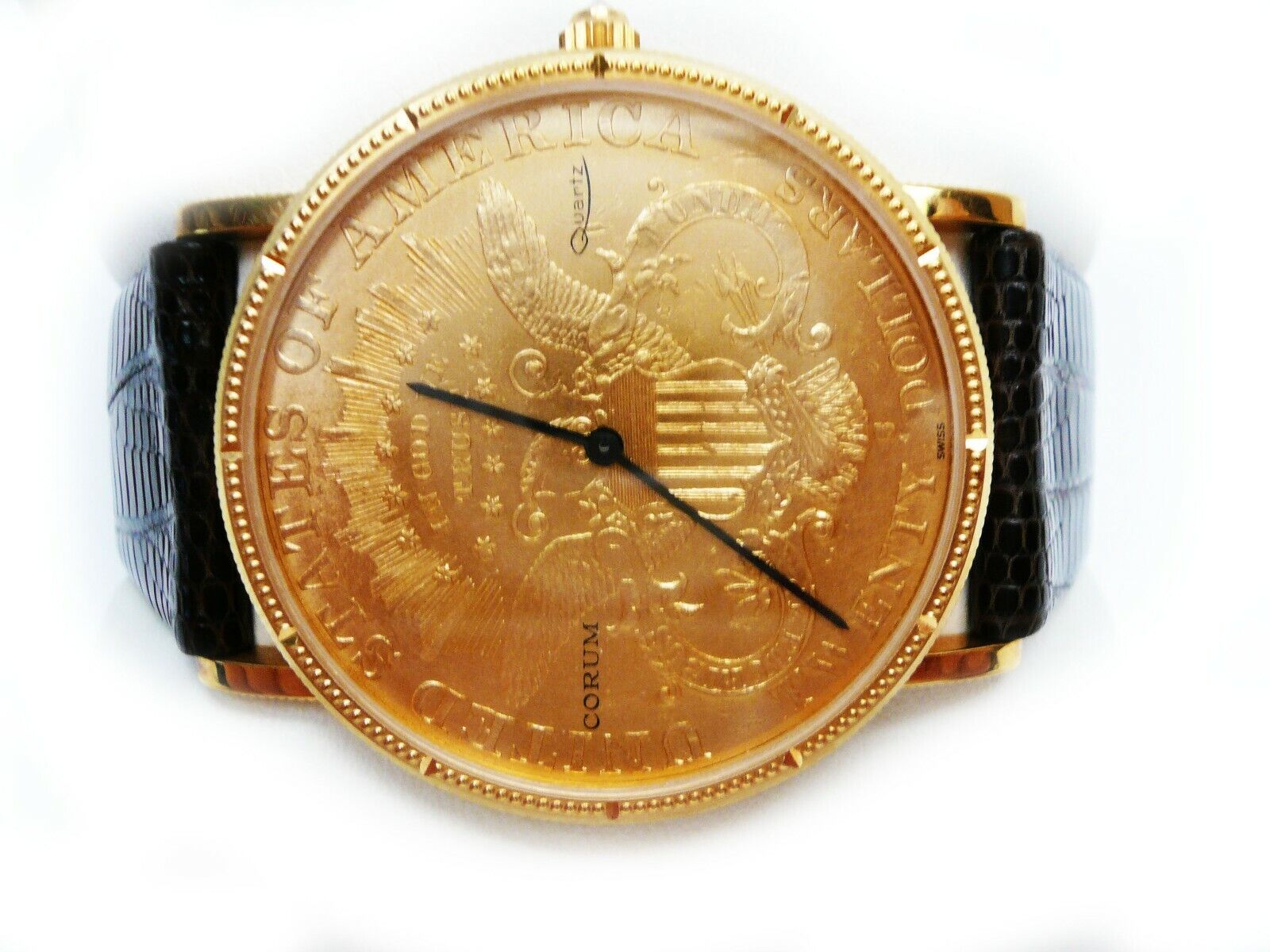 Corum 1900 $20 Dollar Yellow Gold Coin Double Eagle Quartz Watch - watch picture 1
