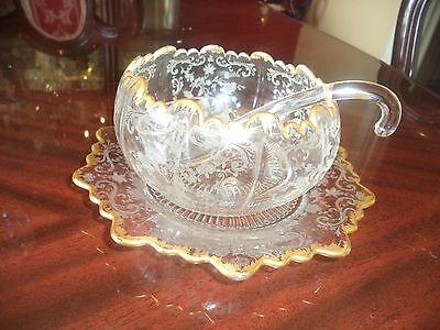 CAMBRIDGE CHANTILLY ETCHED CRYSTAL THREE PIECE MAYONNAISE SET...(GOLD TRIM)