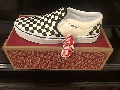 Vans Black And Off White Checker Slip On Shoes Womens Size 8 Never Worn New
