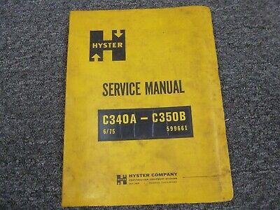 Hyster C340a C350b Smooth Drum Roller Compactor Shop Service Repair Manual