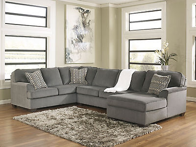 NEW Modern Living Family Room Sectional - Gray Fabric Sofa Couch Chaise Set IG2E ()