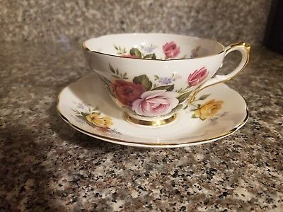 Tea Cup & Saucer Royal Sutherland Staffordshire England - Red Pink Yellow Roses