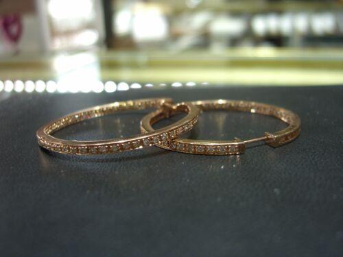 Fine 14 Karat Rose Gold Diamond Hoop Inside Outside Earrings 2.00 Carats New!!!