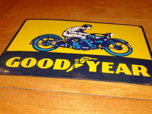 "VINTAGE ""GOODYEAR MOTORCYCLE TIRES"" 18"" X 12"" PORCELAIN METAL GASOLINE OIL SIGN!"