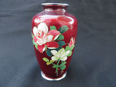 Vintage Small Japanese Cloisonne Pigeon Red Vase with Hand Painted Flowers 5
