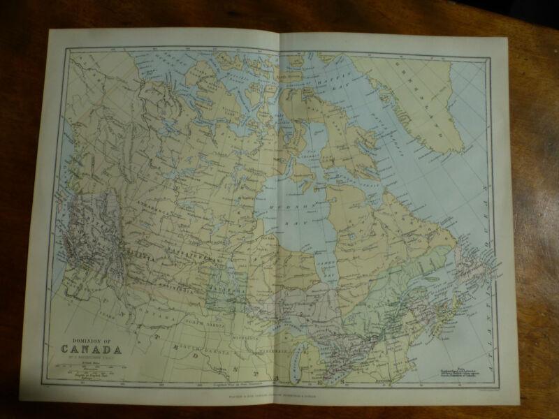 1874 ENGRAVING MAP DOMINION OF CANADA - J. BARTHOLOMEW - Athabasca ASSINIBOIA