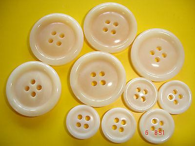 5 Knöpfe beige leicht marmoriert 25mm 4-Loch W96.1