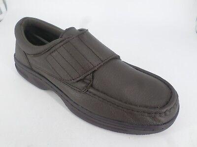 Dr Keller TEXAS Soft Leather Touch Fasten Comfy Shoes Brown UK 8 EU 42 LN25 48