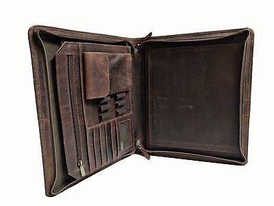 Leather Portfolio Business Padfolio Organizer A4 Folder Case Holder Zippered