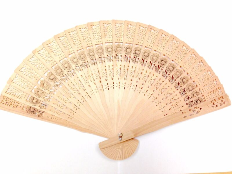 Chinese Bamboo Folding Hand Fan Wedding Party Flower Pattern Vintage Gift Wooden
