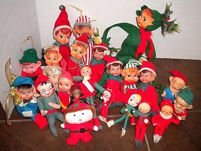 Lot of 21 Vtg Christmas Elves Elf Knee-huggers Misc Felt