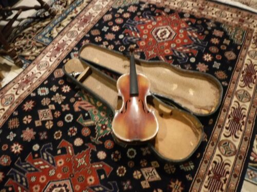 antique german violin with antique wood case signed