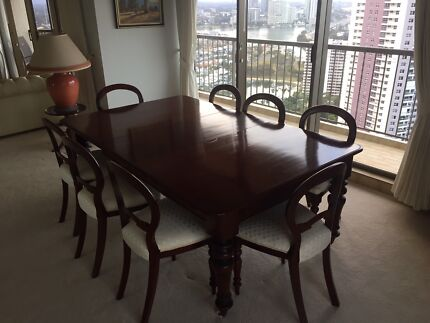 Colonial Cedar extension dining table + 12 chairs c1870s