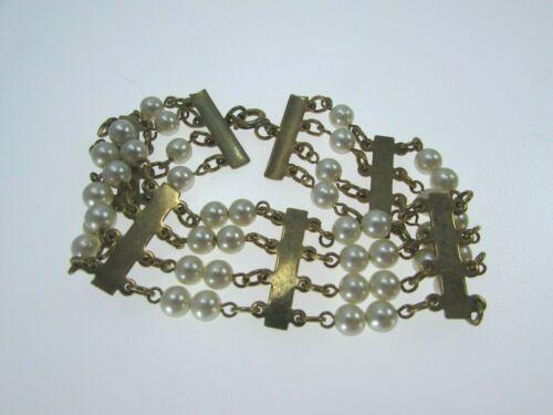 Faux Pearl Goldtone Multi Strand Bracelet 31471