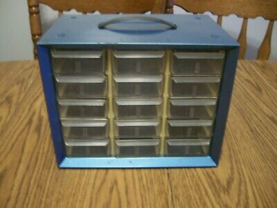 Vintage Akro-mils Metal Parts Cabinet Storage Blue Metal With 15 Plastic Drawers