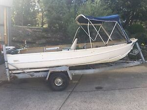 14ft quintrex aluminum boat/tinny on trailer with 9.9 evinrude Launching Place Yarra Ranges Preview