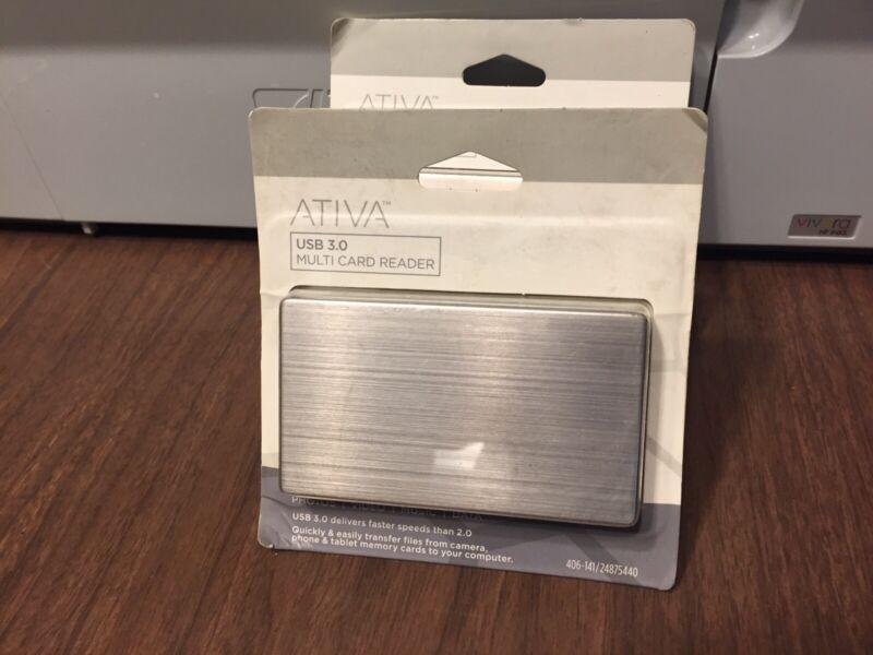 ATIVA USB 3.0 Multi Card Reader Office Depot Brand