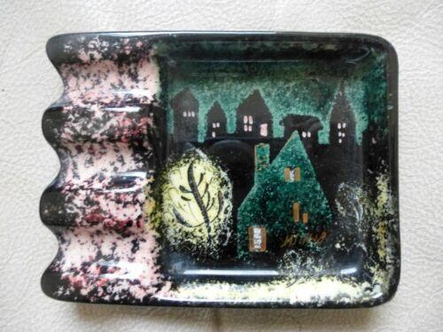 Vintage Sascha Brastoff USA Ashtray Pin Dish Mid Century Night Sky & Houses
