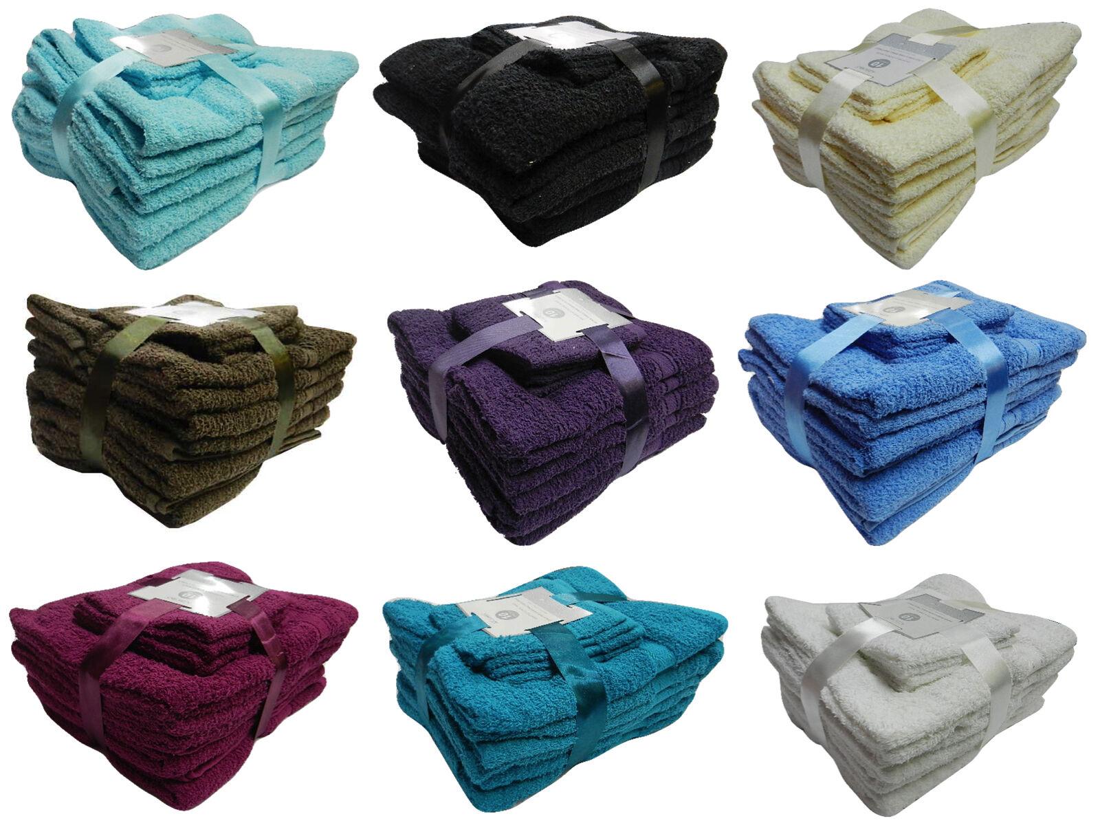 Set 10 Asciugamani da Bagno Spugna Cotone Egiziano Idea Regalo Telo Viso Doccia