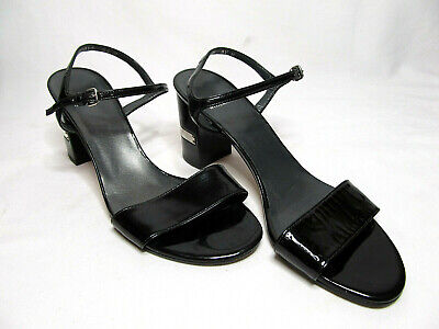 Stuart Weitzman  8 1/2  MEDIUM BLACK PATENT SLING BACK BLOCK HEELS 3 INCHES HIGH 3 Inch Block Heel Slingback