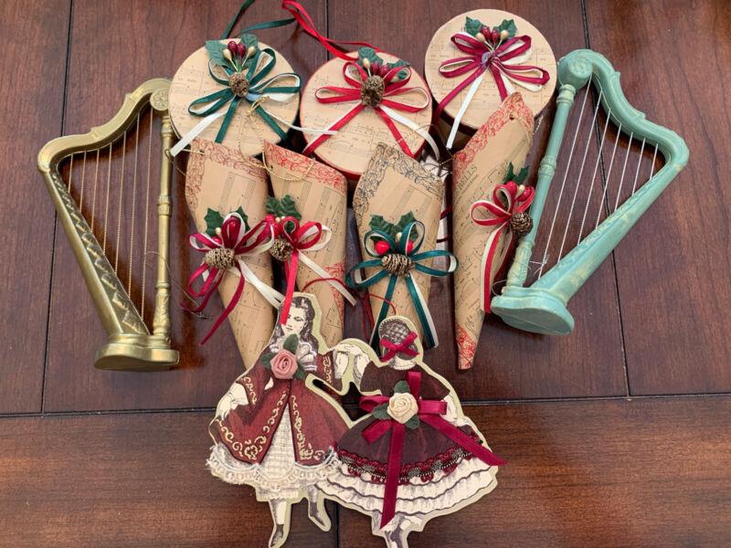 victorian vintage Girls Music Paper Ornaments Cardboard Lot Die Cut 3D Harp Drum