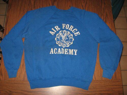 VTG 60s 70s Air Force Academy Military raglan sweatshirt Blue Artex mens size XL