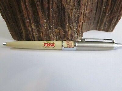 Vtg Parker Jotter TWA Calendar Pen Aviation Plane Jet Advertising IOB E4