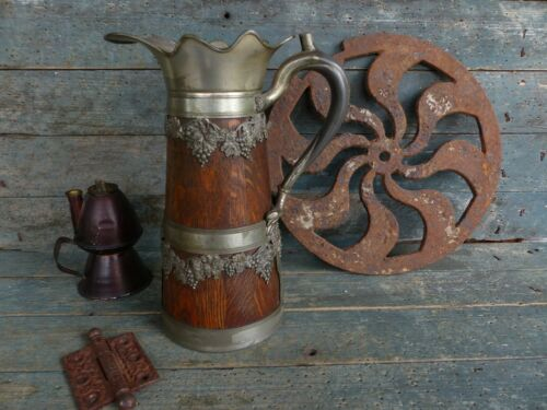 french victorian antique wood oak silverplate wine pitcher old decorative patina