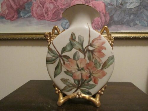 ANTIQUE  MARKED HANDPAINTED VASE FLOWERS