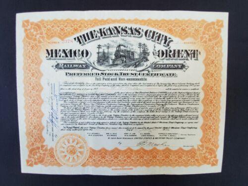 US 1906 The Kansas City Mexico & Orient Railway Co. Stock Certificate