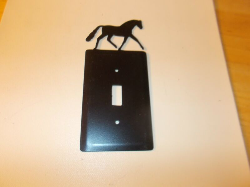 BLACK CAST ZINC FINISH DRESSAGE OR HUNTER HORSE SINGLE SWITCH WALL COVER