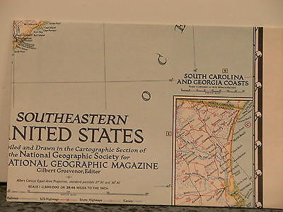 Vintage 1947 National Geographic Map Southeastern United States