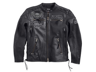 Harley Davidson Men DESTINATION Winged Skull Black Leather Jacket XL 97193-14VM