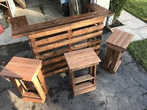 Handmade pallet bar set with stools