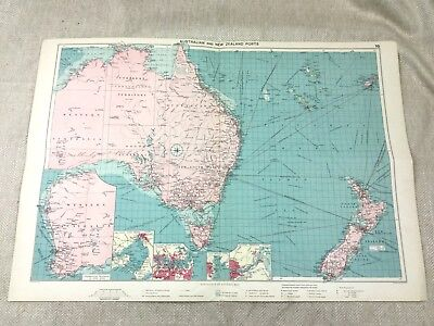 Vintage Map Australia New New Zealand Shipping Ports Routes Maritime Original