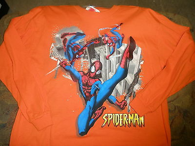 NEW boys long sleeve spiderman t-shirt 16/18 orange