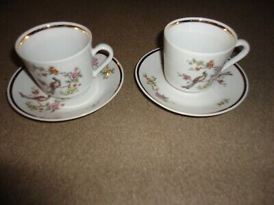 2 CUPS & SAUCERS BY KAHLA-IN GOOD CONDITION-CUPS:2.75 INCHES TALL:3 INCH DIAMETR