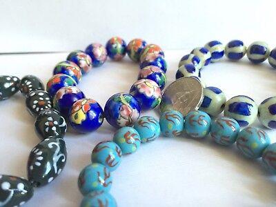 Blue Flower Pattern Ceramic Bead Round Oval 14mm DIY Jewelry Making 50 pcs