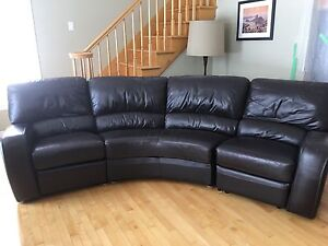 Brown leather couch with 2 reclining chairs