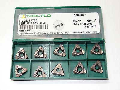 10 Pcs Tool-flo 16nr 5p R.075 Grade At50 Tf20231at50 Carbide Threading Inserts