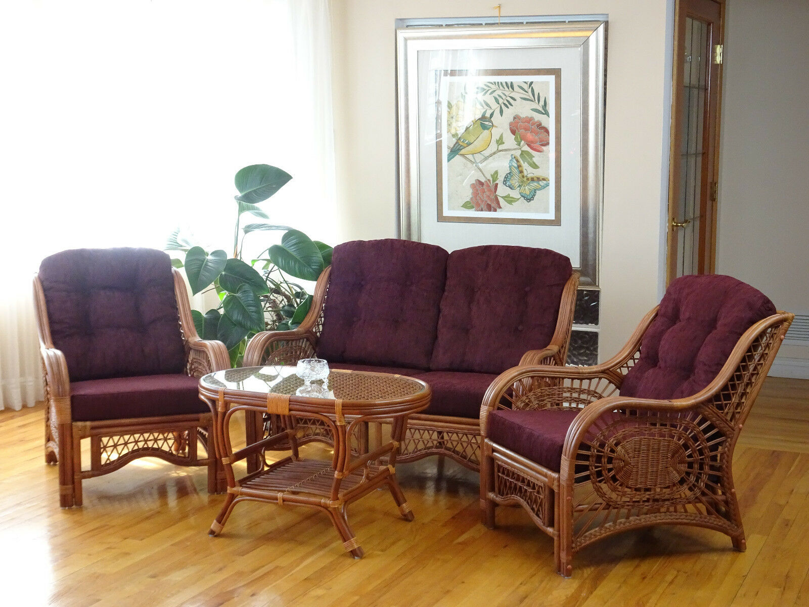 Malibu Rattan Living Set 2 Chairs Loveseat Coffee Table Colonial with Cushions