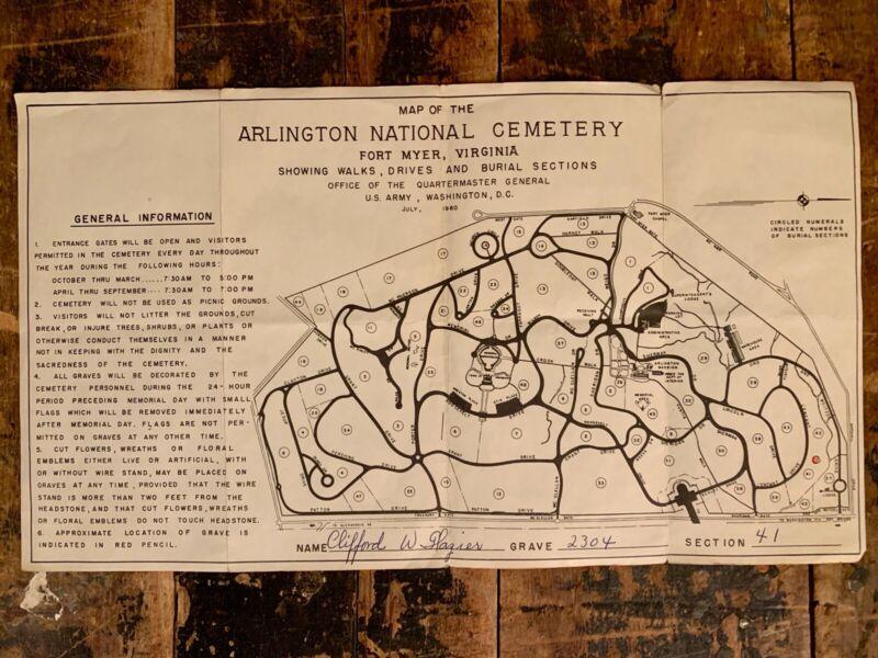July 1960 Arlington National Cemetery Map