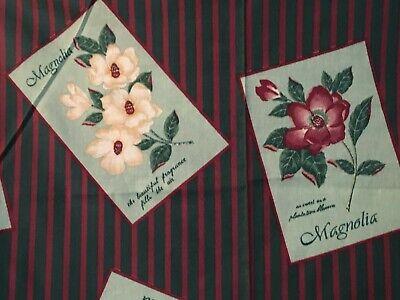 Southern Magnolia Floral Fabric Vintage Postcard Label Motif Stripe Cotton - Magnolia Motif