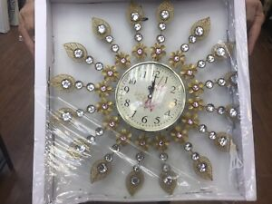 Accent wall clock decorative with stones